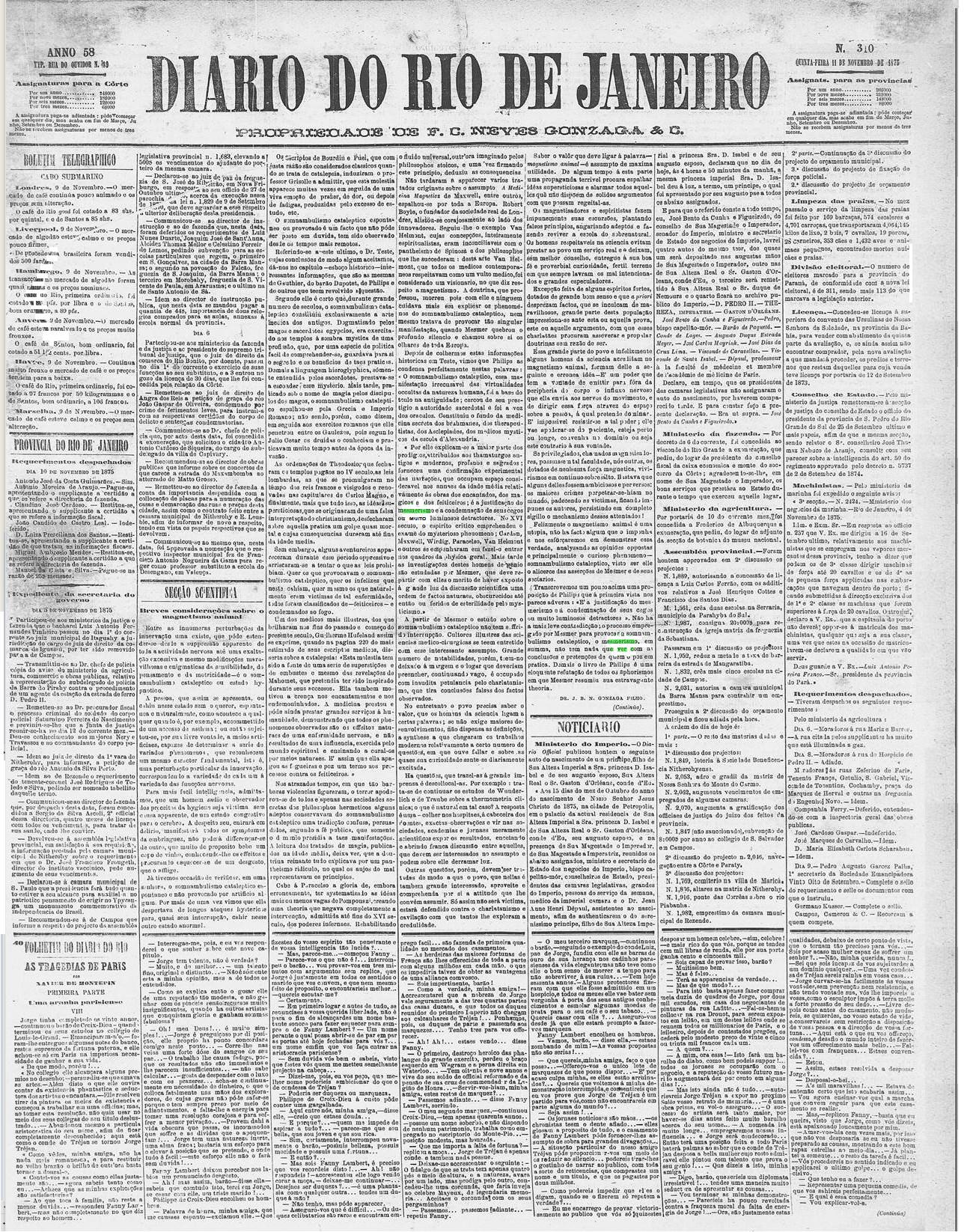 Primeira página do Diário do Rio de Janeiro sobre mesmerismo - 1875/Edição 00310.