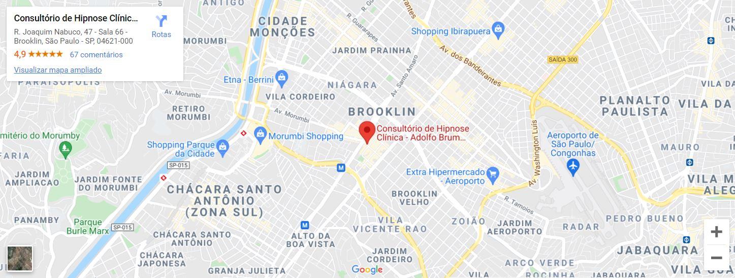 Endereço no Google Maps do Consultório de Hipnose - Adolfo Brum Hipnoterapeuta.