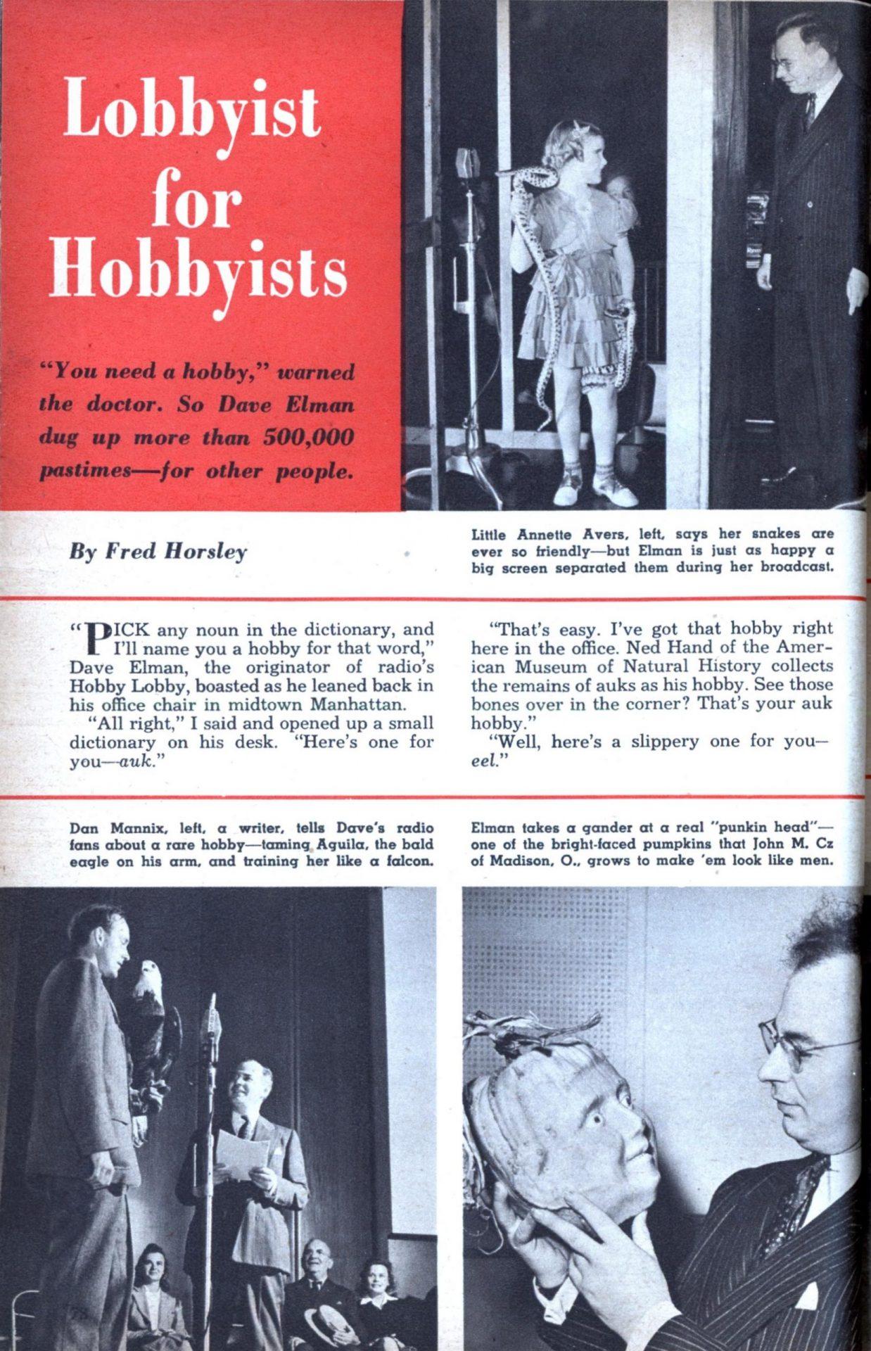 Revista Mechanix Illustrated de outubro de 1949 com a matéria sobre Dave Elman intitulada Lobbyist for Hobbyists.